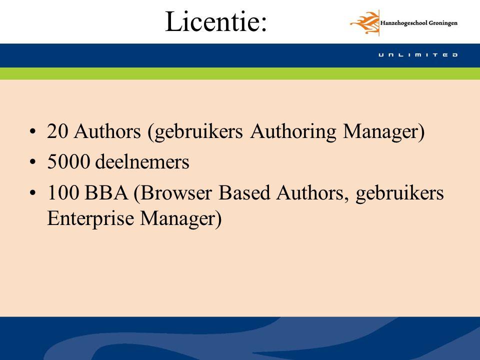 Licentie: 20 Authors (gebruikers Authoring Manager) 5000 deelnemers