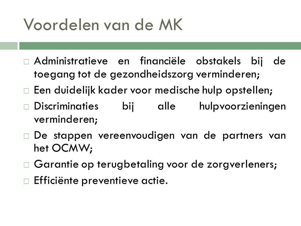 Voordelen van de MK Administratieve en financiële obstakels bij de toegang tot de gezondheidszorg verminderen;