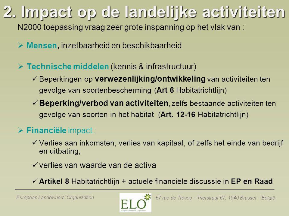 2. Impact op de landelijke activiteiten