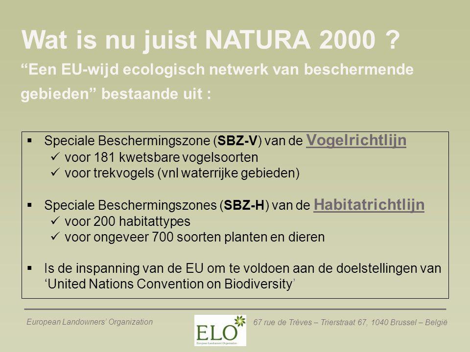 Wat is nu juist NATURA 2000 Een EU-wijd ecologisch netwerk van beschermende gebieden bestaande uit :