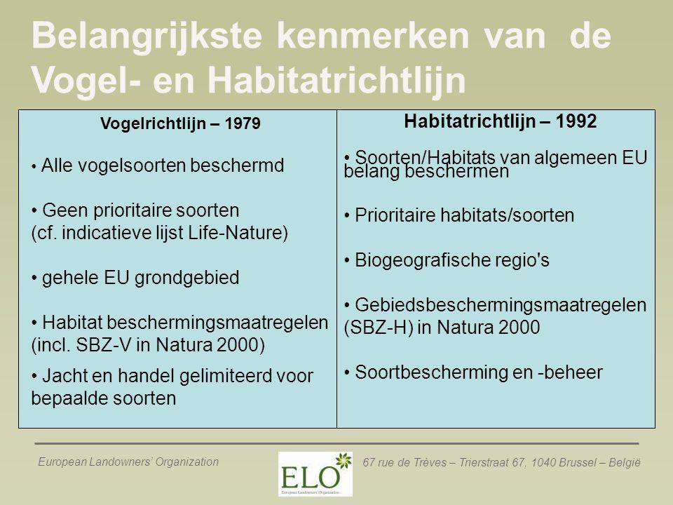 Belangrijkste kenmerken van de Vogel- en Habitatrichtlijn