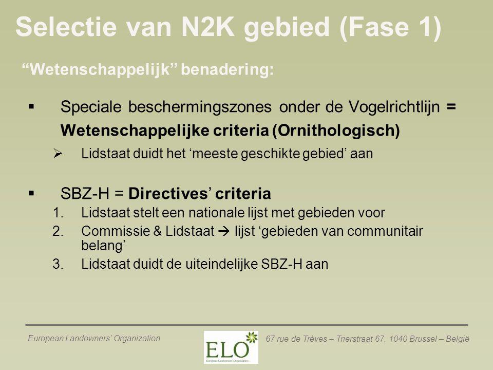 Selectie van N2K gebied (Fase 1)