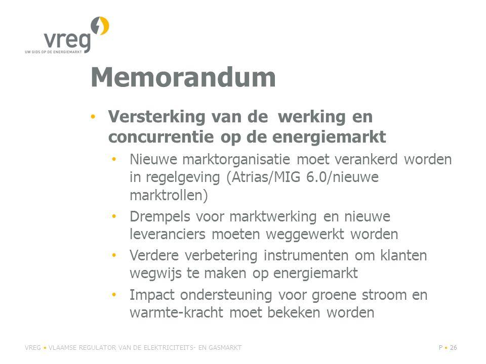 Memorandum Versterking van de werking en concurrentie op de energiemarkt.