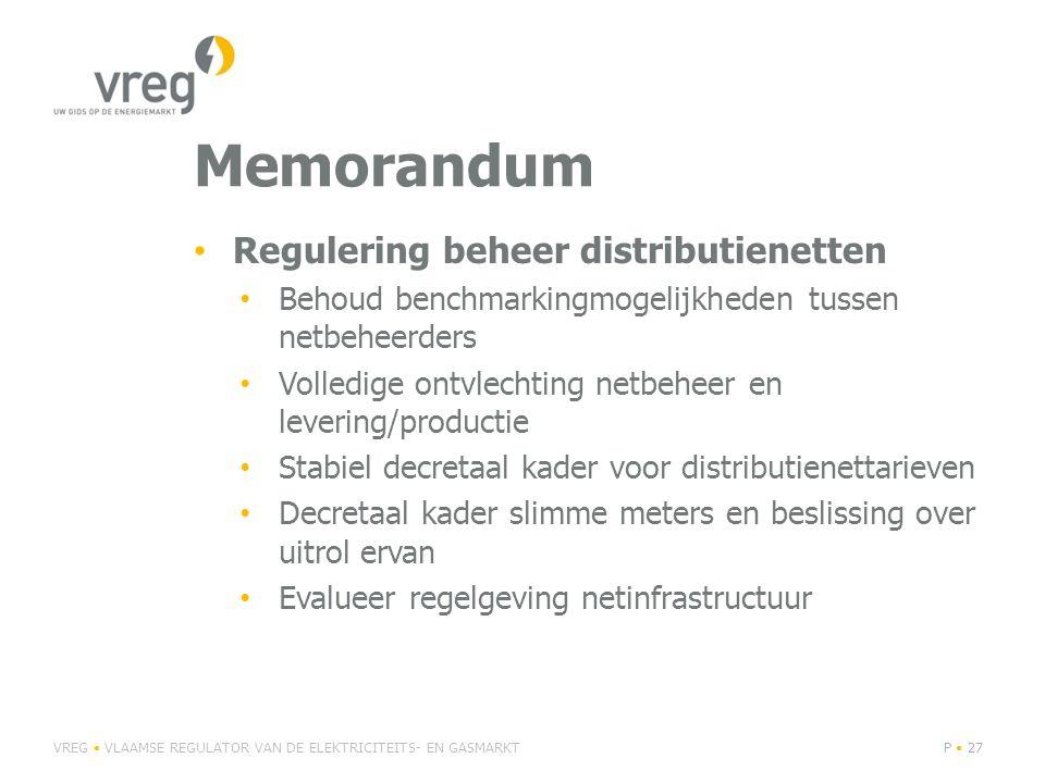 Memorandum Regulering beheer distributienetten