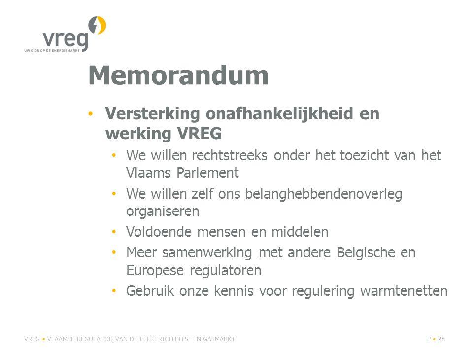 Memorandum Versterking onafhankelijkheid en werking VREG