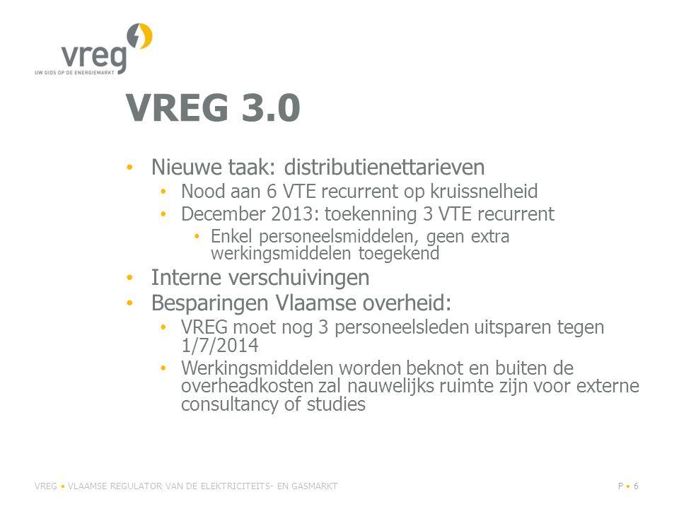 VREG 3.0 Nieuwe taak: distributienettarieven Interne verschuivingen