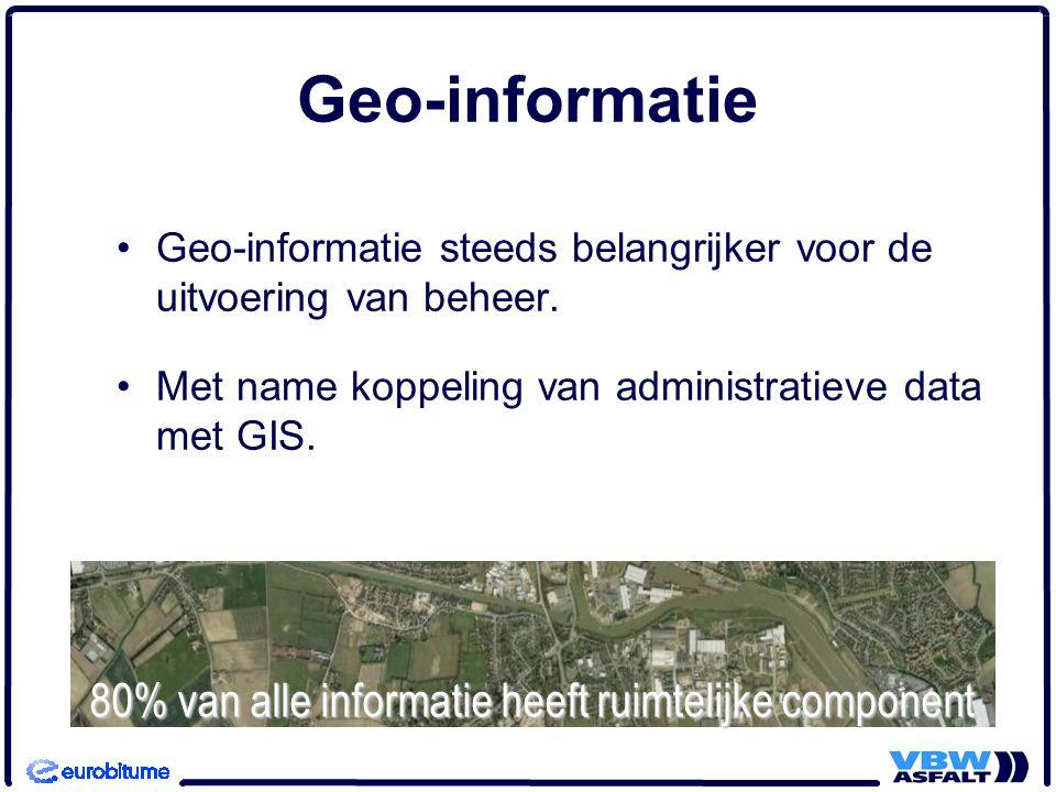 Geo-informatie 80% van alle informatie heeft ruimtelijke component