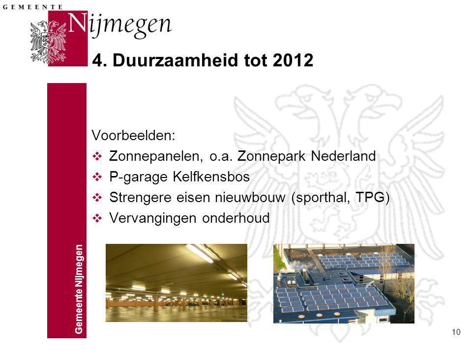 4. Duurzaamheid tot 2012 Voorbeelden: