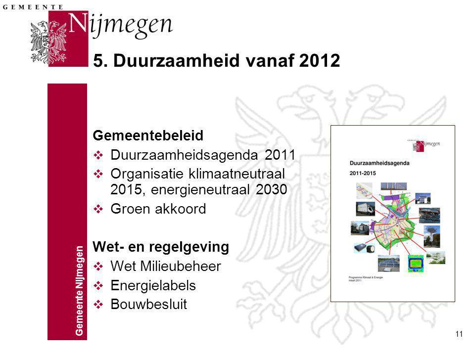 5. Duurzaamheid vanaf 2012 Gemeentebeleid Duurzaamheidsagenda 2011