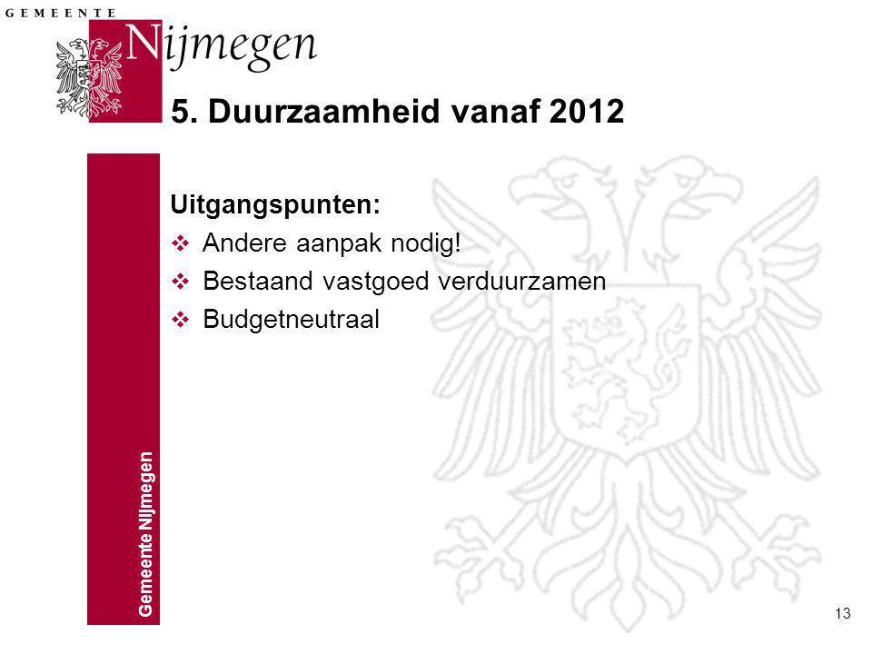 5. Duurzaamheid vanaf 2012 Uitgangspunten: Andere aanpak nodig!