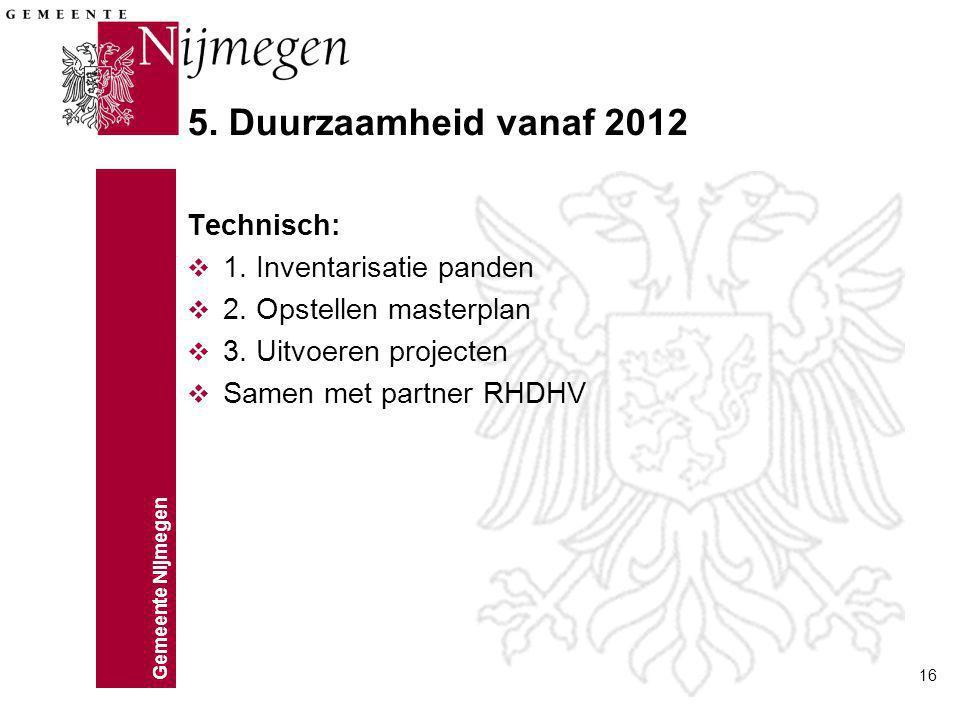 5. Duurzaamheid vanaf 2012 Technisch: 1. Inventarisatie panden