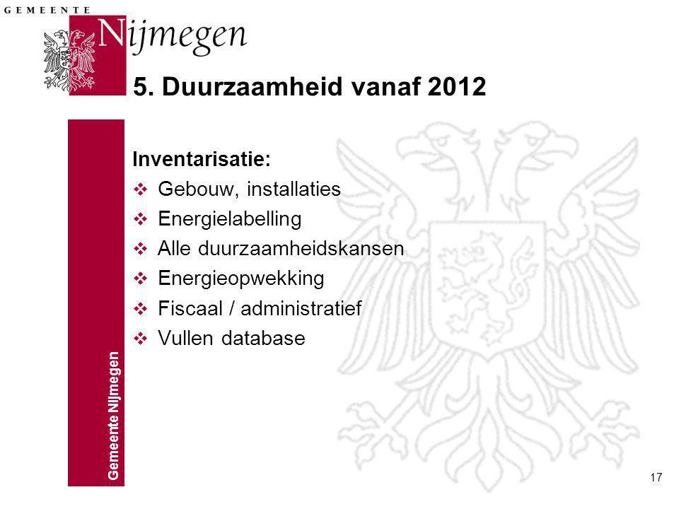 5. Duurzaamheid vanaf 2012 Inventarisatie: Gebouw, installaties