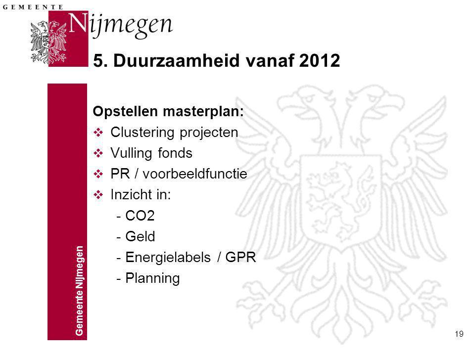 5. Duurzaamheid vanaf 2012 Opstellen masterplan: Clustering projecten