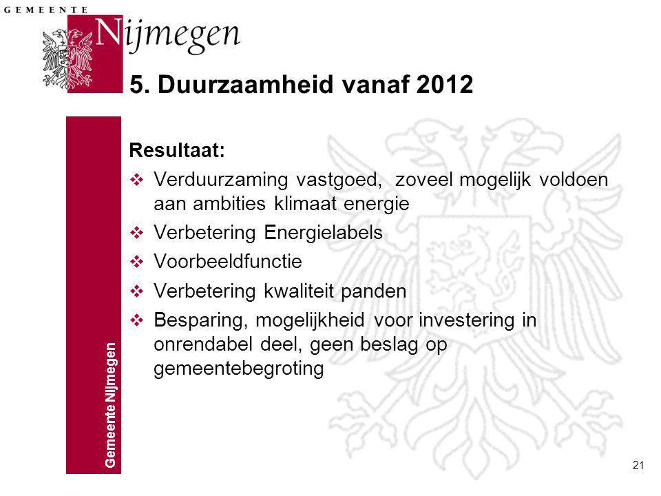 5. Duurzaamheid vanaf 2012 Resultaat: