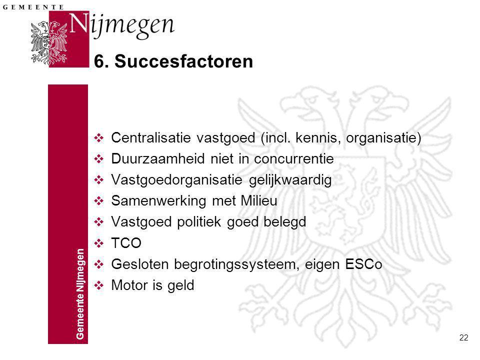 6. Succesfactoren Centralisatie vastgoed (incl. kennis, organisatie)