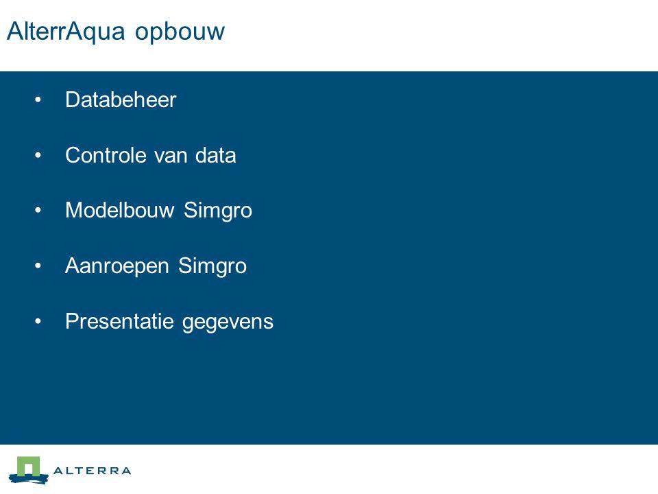 AlterrAqua opbouw Databeheer Controle van data Modelbouw Simgro
