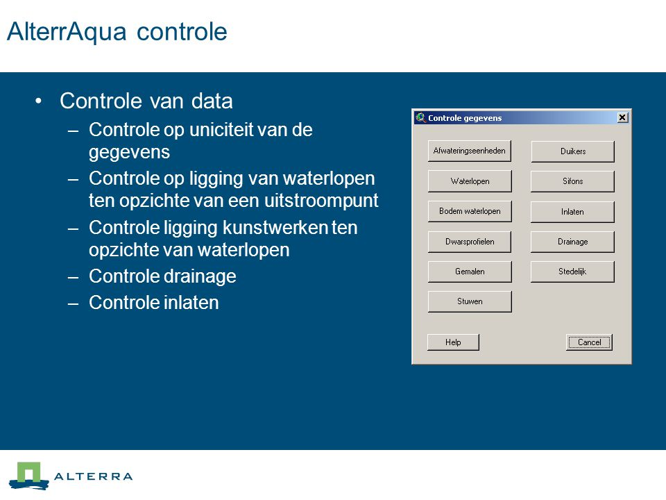 AlterrAqua controle Controle van data