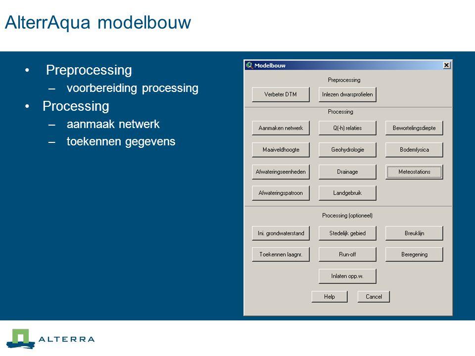 AlterrAqua modelbouw Preprocessing Processing voorbereiding processing