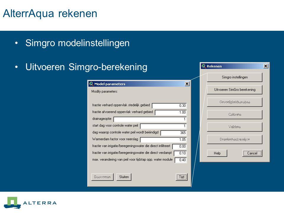 AlterrAqua rekenen Simgro modelinstellingen