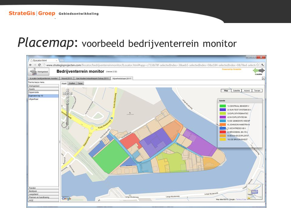 Placemap: voorbeeld bedrijventerrein monitor