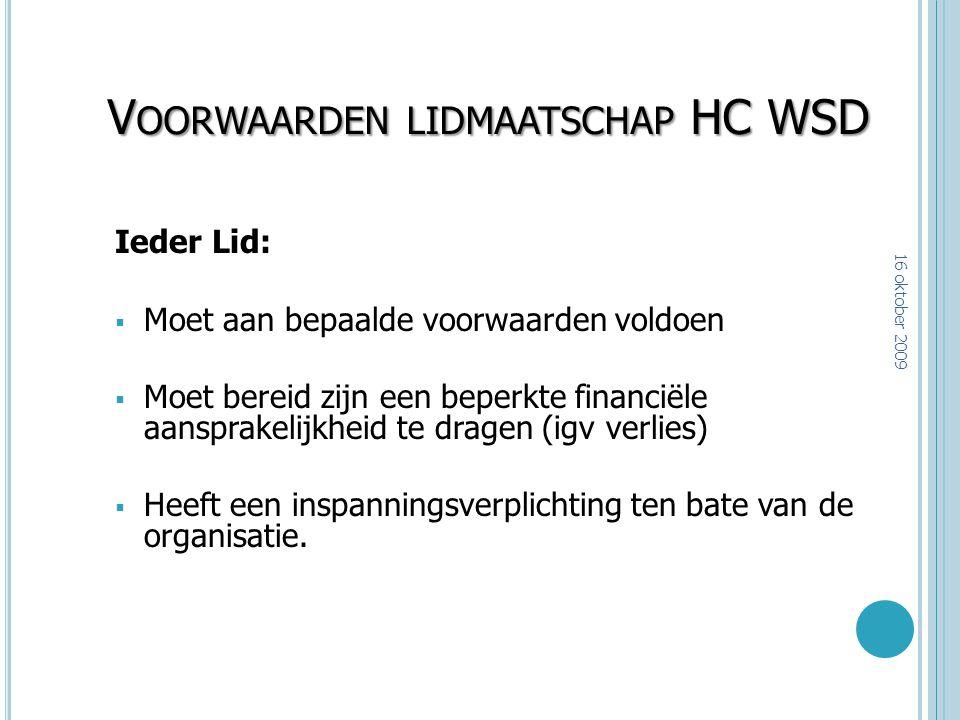 Voorwaarden lidmaatschap HC WSD