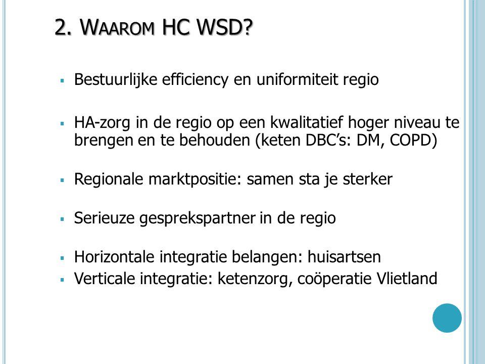 2. Waarom HC WSD Bestuurlijke efficiency en uniformiteit regio
