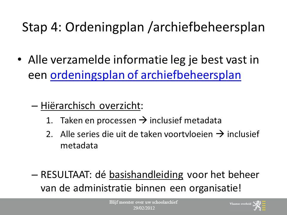 Stap 4: Ordeningplan /archiefbeheersplan