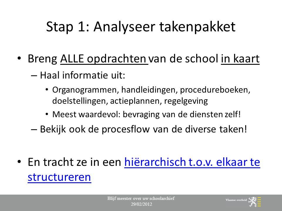 Stap 1: Analyseer takenpakket