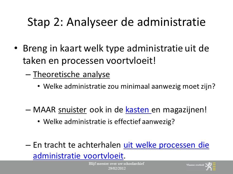 Stap 2: Analyseer de administratie