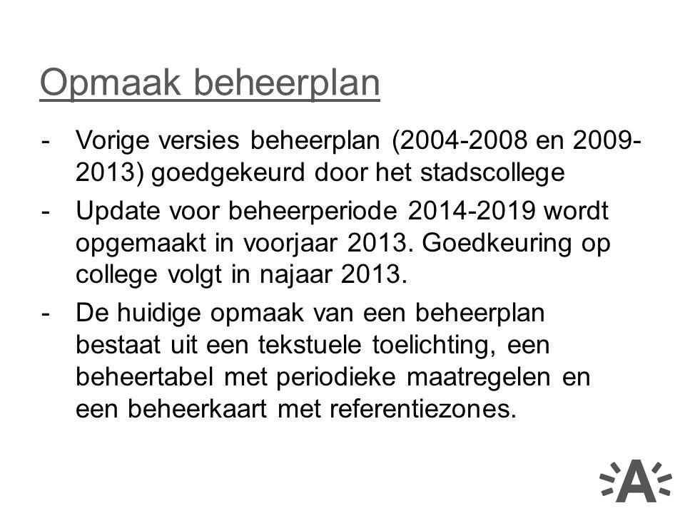 Opmaak beheerplan Vorige versies beheerplan (2004-2008 en 2009-2013) goedgekeurd door het stadscollege.