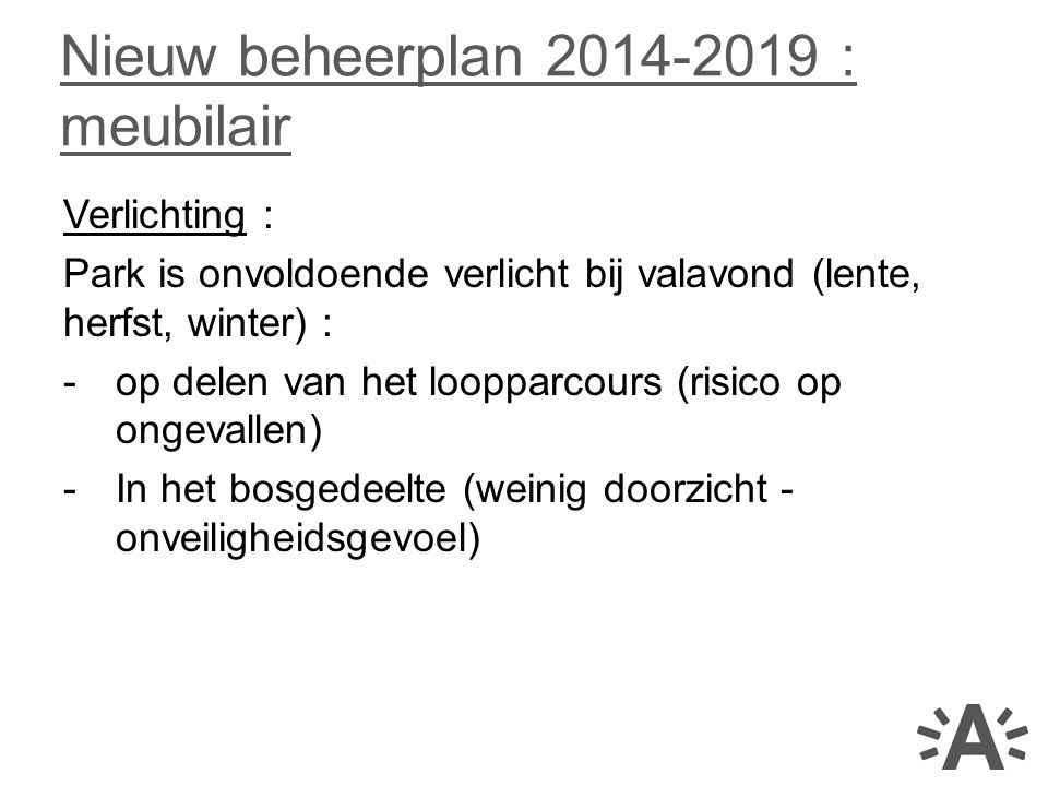 Nieuw beheerplan 2014-2019 : meubilair