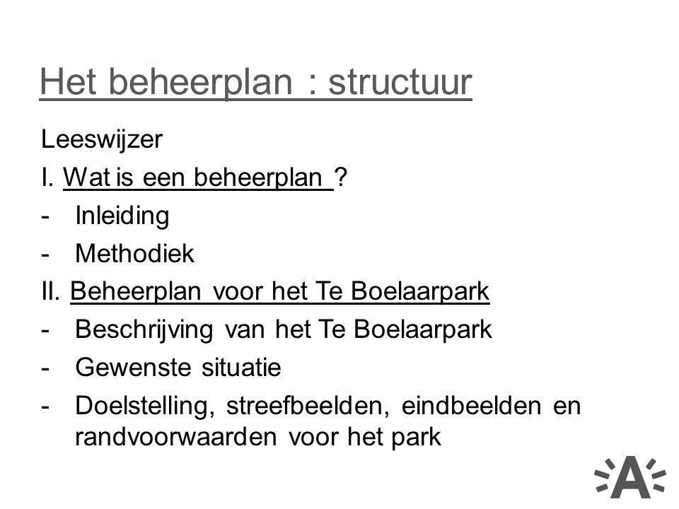 Het beheerplan : structuur
