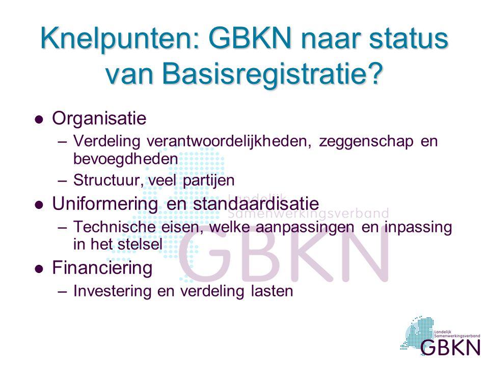 Knelpunten: GBKN naar status van Basisregistratie