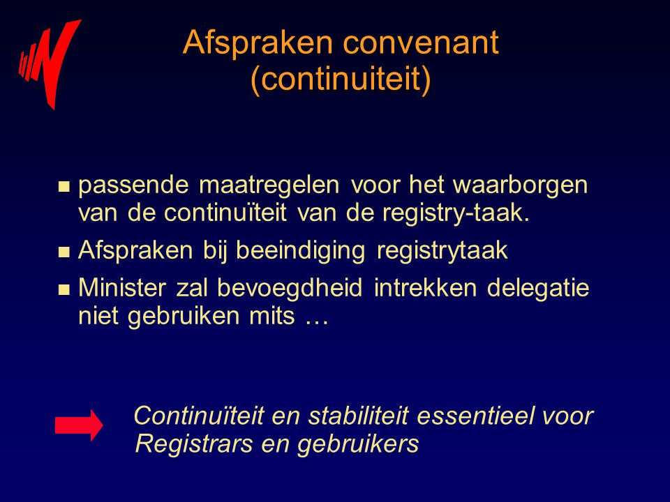 Afspraken convenant (continuiteit)