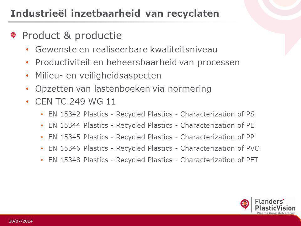 Industrieël inzetbaarheid van recyclaten
