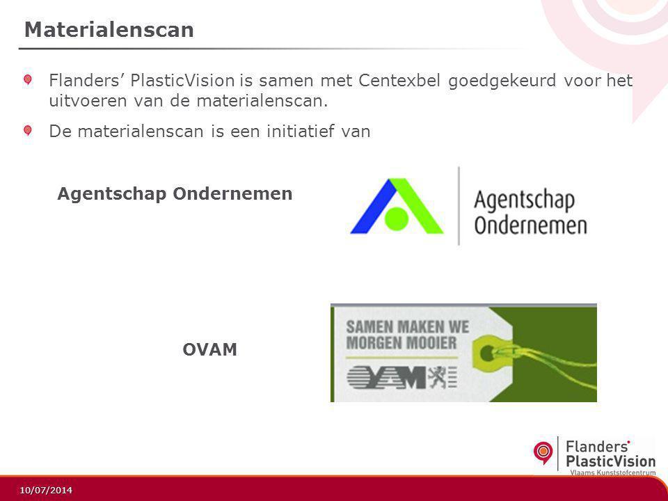 Materialenscan Flanders' PlasticVision is samen met Centexbel goedgekeurd voor het uitvoeren van de materialenscan.