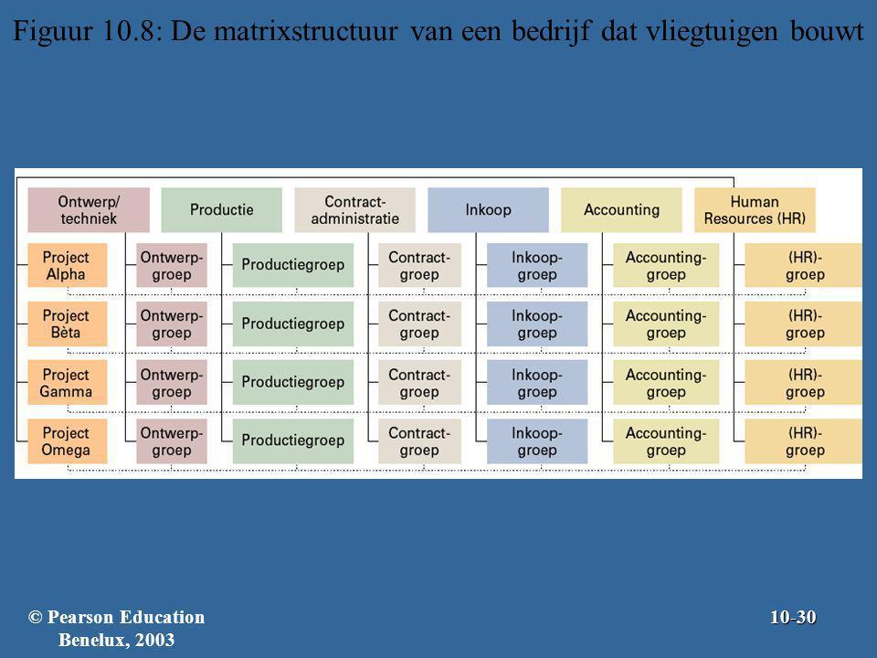 Figuur 10.8: De matrixstructuur van een bedrijf dat vliegtuigen bouwt