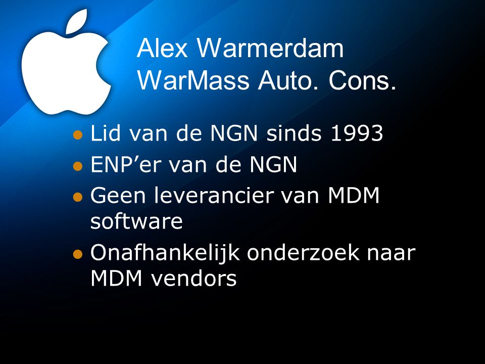Alex Warmerdam WarMass Auto. Cons.
