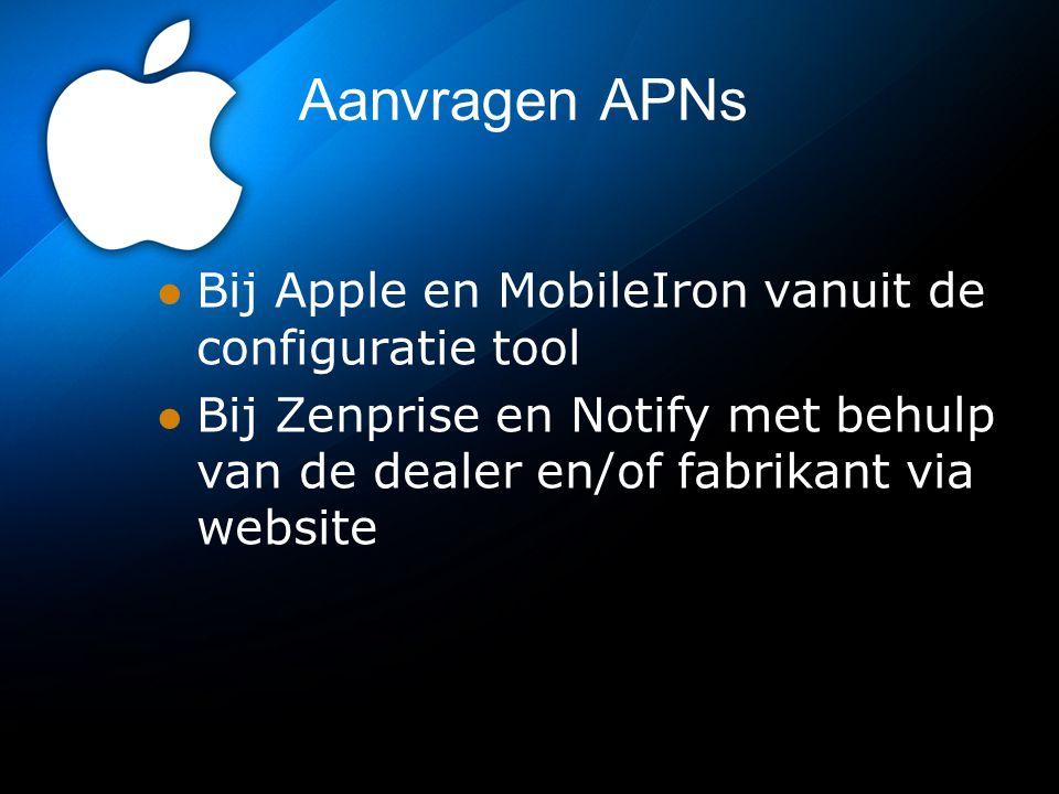 Aanvragen APNs Bij Apple en MobileIron vanuit de configuratie tool