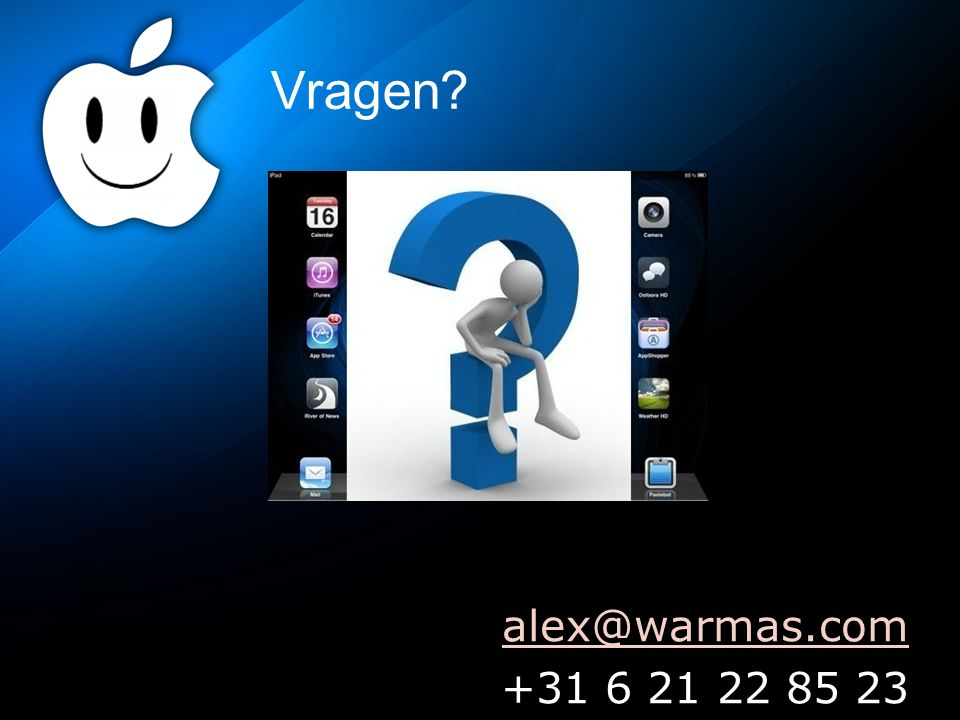 Vragen alex@warmas.com +31 6 21 22 85 23