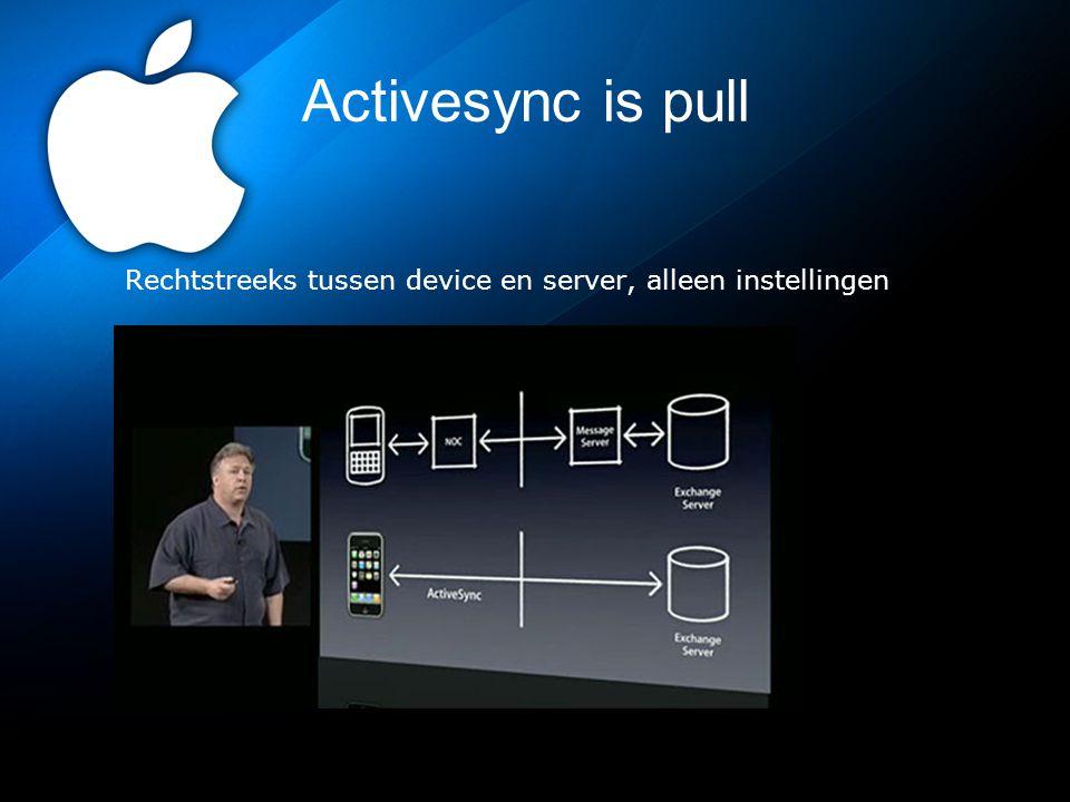 Activesync is pull Rechtstreeks tussen device en server, alleen instellingen