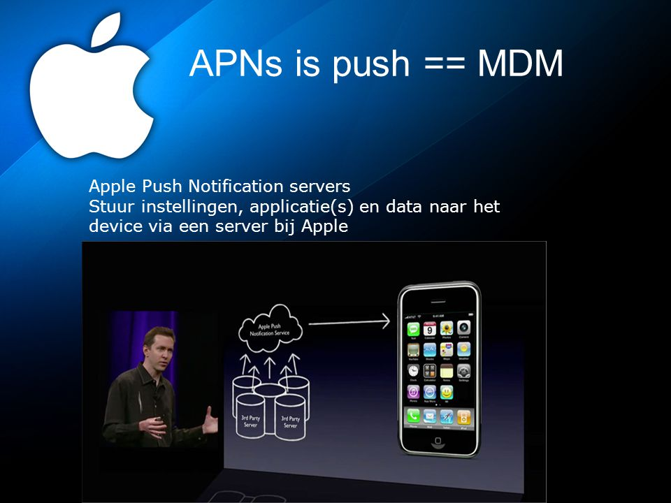 APNs is push == MDM Apple Push Notification servers