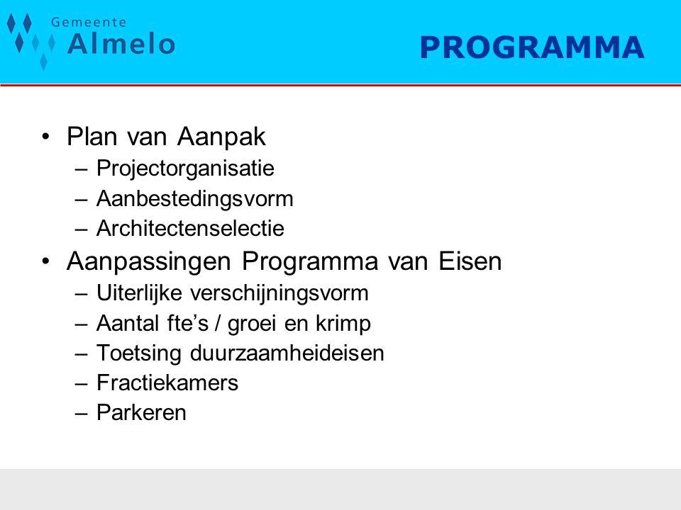 PROGRAMMA Plan van Aanpak Aanpassingen Programma van Eisen