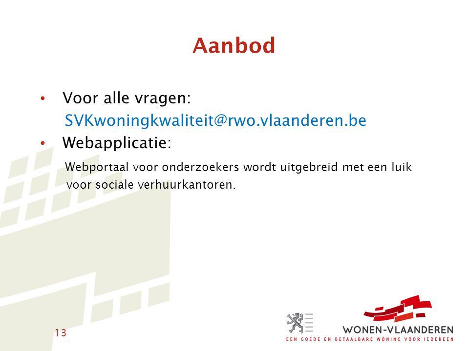 Aanbod Voor alle vragen: SVKwoningkwaliteit@rwo.vlaanderen.be