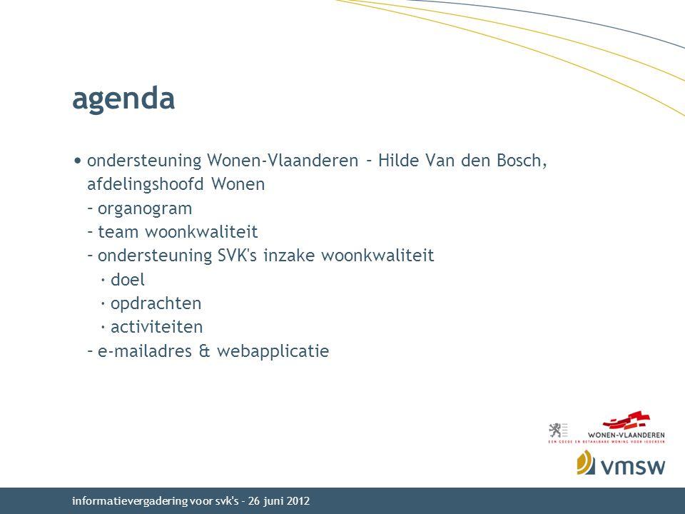 agenda ondersteuning Wonen-Vlaanderen – Hilde Van den Bosch, afdelingshoofd Wonen. organogram. team woonkwaliteit.