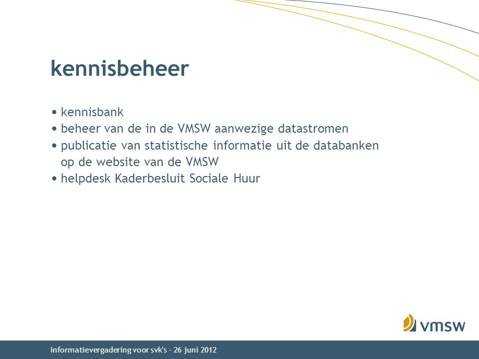 kennisbeheer kennisbank beheer van de in de VMSW aanwezige datastromen
