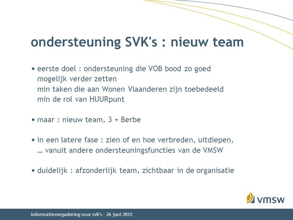 ondersteuning SVK s : nieuw team