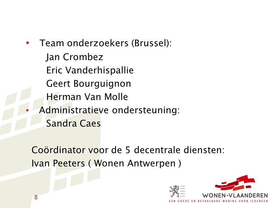 Team onderzoekers (Brussel):
