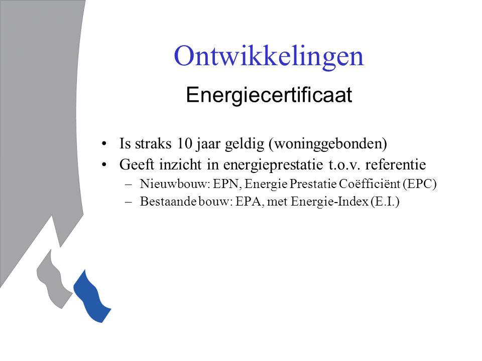 Ontwikkelingen Energiecertificaat