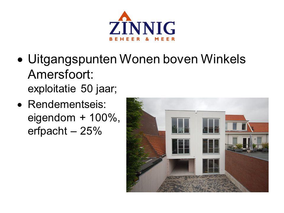 Uitgangspunten Wonen boven Winkels Amersfoort: exploitatie 50 jaar;